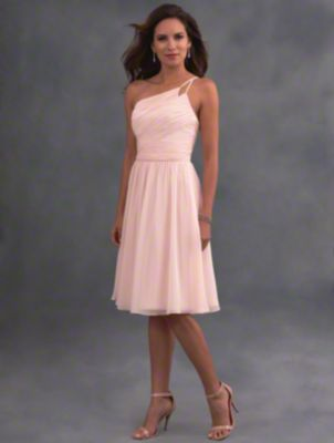 A short romantic bridesmaid gown with asymmetric single shoulder neckline, natural waistband, and shirred skirt.