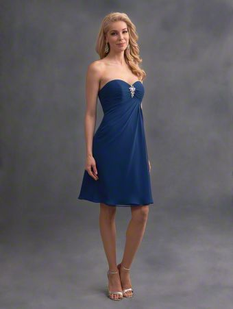 A romantic short bridesmaid dress with strapless, sweetheart neckline, empire waist bodice, and draped skirt.