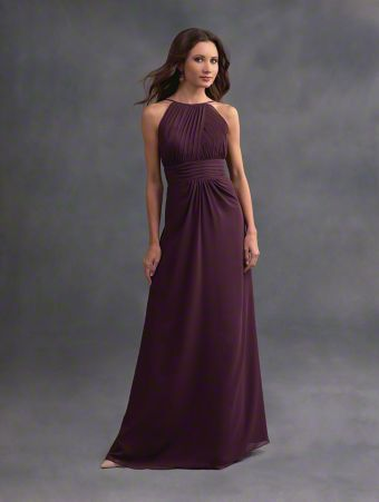 A romantic long bridesmaid dress with halter neckline, cummerbund natural waist, and A-line skirt.