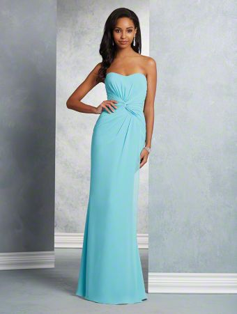 A long beautiful bridesmaid dress with strapless, dipped neckline, twisted bodice, and fluted skirt.