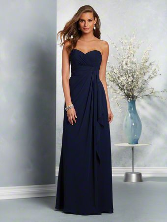 A long, romantic bridesmaid dress with a strapless, sweetheart neckline, natural waist, and fluted A-line skirt.