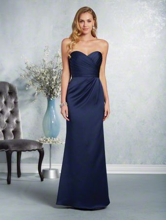 A long, affordable bridesmaid dress with a strapless, sweetheart neckline, natural waist, and fluted skirt.