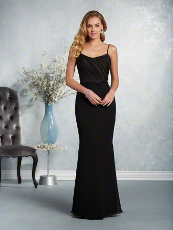 A long, affordable bridesmaid dress with a dipped neckline, spaghetti straps, natural waist, and fluted skirt.