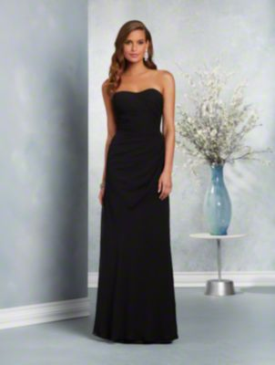 A long affordable bridesmaid dress with a strapless, dipped neckline, asymmetric draped body, and fluted skirt.