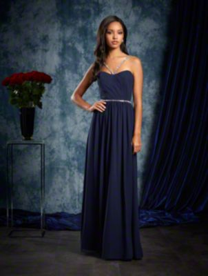 A Long Bridesmaid Dress With Crystal Beaded Satin Straps And A Natural Waist With Crystal Band Detail.