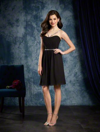 A Short Bridesmaid Dress With Crystal Beaded Satin Straps And A Natural Waist With Crystal Band Detail.