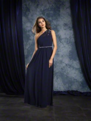 An A-Line Style, Floor Length, One Shoulder Bridesmaid Dress Decorated In Crystal Beading With Crystal Detail At The Natural Waist.