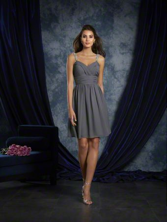 A Short Bridesmaid Dress With Crystal Beaded Shoulder Straps And A Natural Waist.