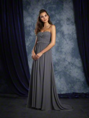 A Strapless, Long Bridesmaid Dress With A Twisted Bodice, A Sweep Train And Crystal Detail At The Neckline And Natural Waist.