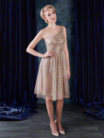 A sequined cocktail length sophisticated bridesmaid dress with single shoulder strap, natural waist bodice, and draped skirt.