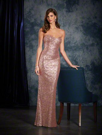 A long, sexy bridesmaid dress in sequins with a strapless, sweetheart neckline, sheath silhouette, and floor-length skirt.