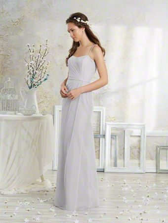 A Vintage Style, Long Bridesmaid Dress With Spaghetti Straps And Natural Waist With Waistband.