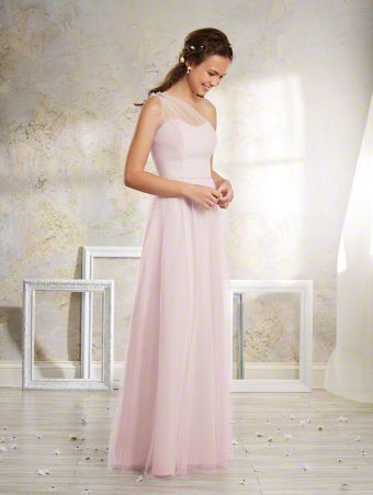 A Vintage Style, Floor Length, One Shoulder Bridesmaid Dress With A Natural Waist And Floral Detail Along The Strap On The Back Of The Dress.