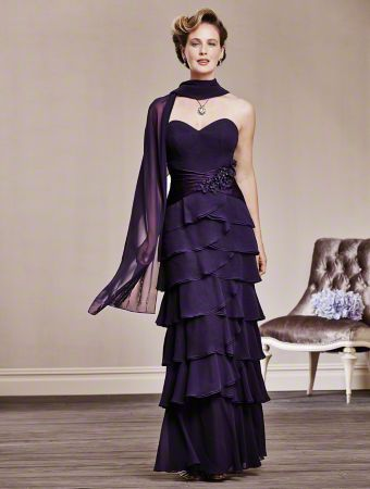 A Floor-Length Strapless Chiffon Special Occasion Dress with a Sweetheart Neckline, Beaded Shawl, and Natural Waist with Decorated Cummerbund