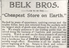 Belk Brothers Advertisement