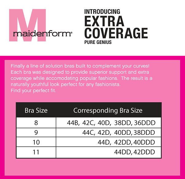 MaidenForm Extra Coverage Bra Sizing Chart