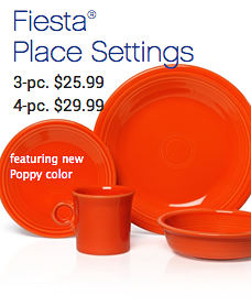 Fiesta® Place Settings 3-pc $25.99 4-pc $29.99