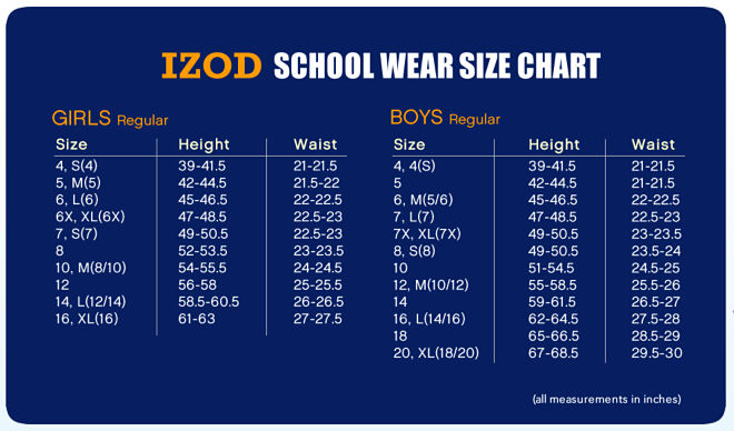 Izod white long sleeve uniform polo nwt girls s 8 ebay for Izod shirt size chart