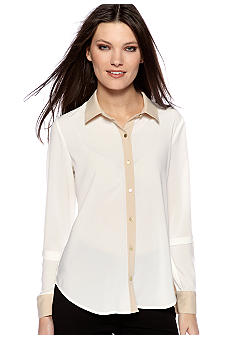 Calvin Klein Sheer Piped Blouse