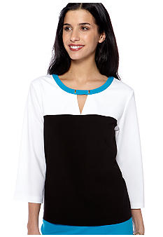 Calvin Klein Colorblock 3/4 Sleeve Top