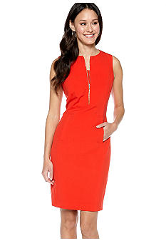 Calvin Klein Zip Front Sheath Dress
