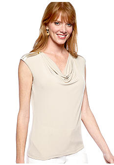 Calvin Klein Cowl Neck Cami with Zip Shoulder Detail