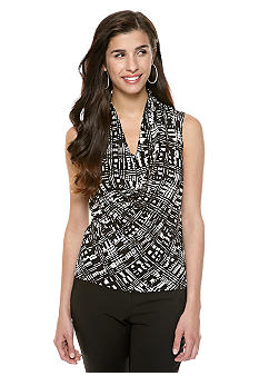Calvin Klein Printed Drape Neck Top