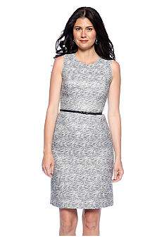 Calvin Klein Belted Tweed Sheath Dress