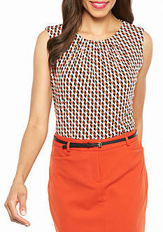 Calvin Klein Print Pleated Neck Top