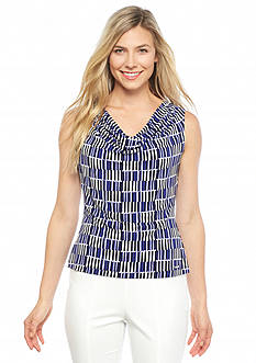Calvin Klein Women's Print Drape Neck Top