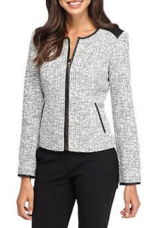 Calvin Klein Zip Front Boucle Jacket