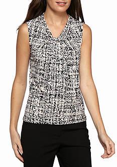 Calvin Klein Printed Jersey Knot Neck Top