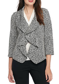 Calvin Klein Ponte Knit Ruffle Jacket