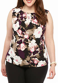 Calvin Klein Plus Size Print Pleat Neck Top