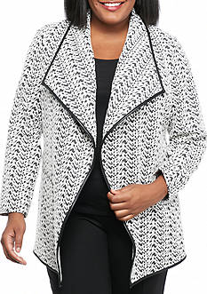 Calvin Klein Plus Size Long Flyaway Jacket