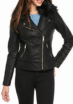 GUESS Asymmetrical Zip Jacket with Corset Sleeve