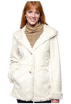 Jones New York Outerwear Faux Shearling Hooded Coat