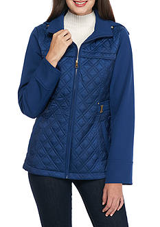 Jones New York Mixed Media Quilted Side Tab Waist Jacket