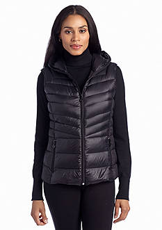 Bernardo Crinkled Down Vest with Hood