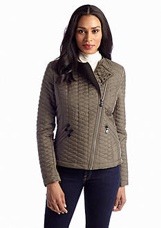 aB Mini Quilted Asymmetrical Zip Moto Jacket