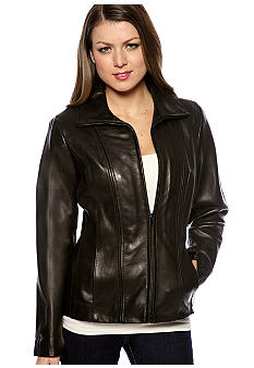 Jones New York Outerwear Scuba Style Leather Jacket