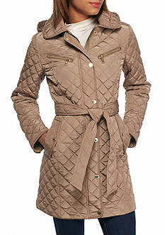 MICHAEL Michael Kors Covered Zip Placket With Hood Self Belted
