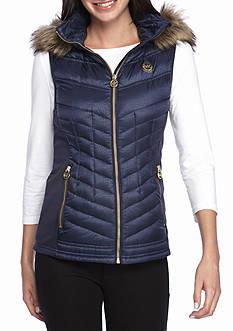 MICHAEL Michael Kors Zip Front Vest W/ Faux Fur Hood
