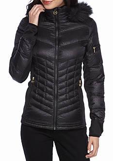MICHAEL Michael Kors Patterned Front Zip Faux Fur Hood Coat