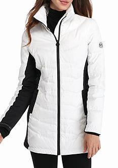 MICHAEL Michael Kors Half Circle Stitch Pattern Zip Front Coat