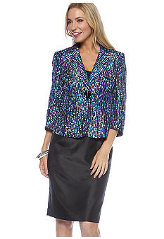 Le Suit Plus Size Shantung Printed Skirt Suit