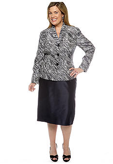 Le Suit Plus Size Zebra Print Skirt Suit