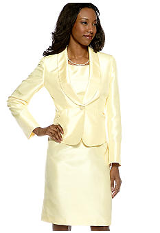 Le Suit Plus Size Yellow Shantung Dress Suit