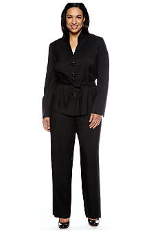 Le Suit Plus Size Belted Black Pant Suit