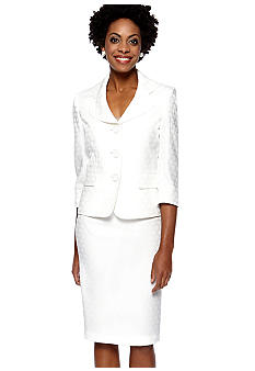 Le Suit Plus Size White Jacquard Skirt Suit